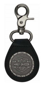 Harley-Davidson® 2D Struck H-D Chain Keychain, Antique Nickel & Leather KY30806 - Wisconsin Harley-Davidson