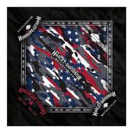 Harley-Davidson® Men's Patriotic Grunge Bandana - Black, 24 x 24 inch BA29084 - Wisconsin Harley-Davidson