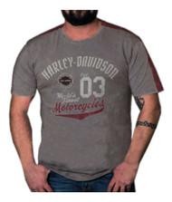 Harley-Davidson® Men's Statement Premium Short Sleeve Panel T-Shirt, Steel Gray - Wisconsin Harley-Davidson