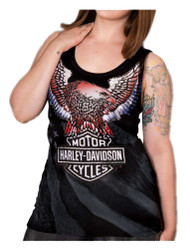 Harley-Davidson® Women's Freedom Embellished Premium Sleeveless Tank Top, Black - Wisconsin Harley-Davidson