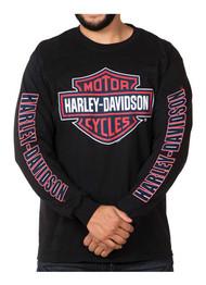 Harley-Davidson® Men's RWB Bar & Shield Long Sleeve Crew Neck Shirt - Black - Wisconsin Harley-Davidson