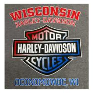 Harley-Davidson® Men's American Poster Short Sleeve T-Shirt, Premium Heather Gray - Wisconsin Harley-Davidson