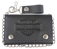 Harley-Davidson® Men's B&S Embossed Trucker Tri-Fold Plus Wallet XML3514-BLACK - Wisconsin Harley-Davidson