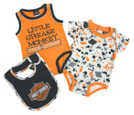 Harley-Davidson® Baby Boys' 2 Pack Grease Monkey Creeper & Bib Set 3052805 - Wisconsin Harley-Davidson