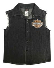 Harley-Davidson® Big Boys' Denim Raw-Edge Blow-Out Shirt - Black 1092823 - Wisconsin Harley-Davidson