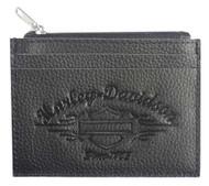 Harley-Davidson® Women's Embossed Script Leather Front Pocket Wallet LSE6191-BLK - Wisconsin Harley-Davidson