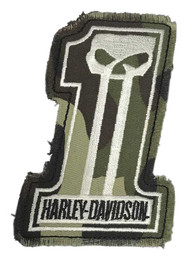 Harley-Davidson® Dark Custom Camo #1 Skull Frayed Emblem Patch, 4 x 3 inches - Wisconsin Harley-Davidson