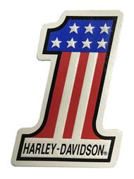 Harley-Davidson® Distressed #1 RWB Embossed Leather Emblem Patch, 4 x 2.75 inches - Wisconsin Harley-Davidson