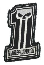 Harley-Davidson® Dark Custom #1 Skull Frayed Emblem Patch, 4 x 3 inches - White - Wisconsin Harley-Davidson