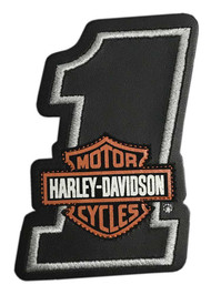 Harley-Davidson® Bar & Shield #1 Leather Emblem Patch, 4 x 2.75 in. HDEML1002 - Wisconsin Harley-Davidson