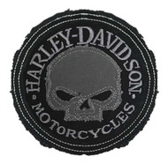 Harley-Davidson® Genuine Gray Willie G Skull Frayed Emblem Patch, 3.5 inch - Wisconsin Harley-Davidson