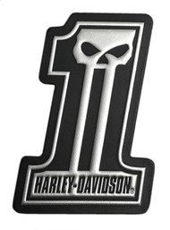 Harley-Davidson® Dark Custom #1 Skull Leather & Foil Emblem Patch, 4 x 3 inches - Wisconsin Harley-Davidson