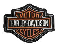Harley-Davidson® Genuine Orange Bar & Shield Frayed Emblem Patch, 4 x 3 inches - Wisconsin Harley-Davidson