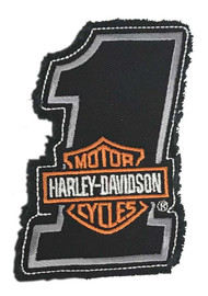 Harley-Davidson® Genuine Bar & Shield #1 Frayed Emblem Patch, 4 x 2.5 inches - Wisconsin Harley-Davidson
