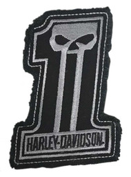 Harley-Davidson® Dark Custom #1 Skull Frayed Emblem Patch, 4 x 3 inches - Gray - Wisconsin Harley-Davidson