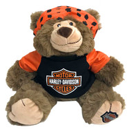 Harley-Davidson® Big Ed 12 in. Huggy Stuffed Plush Bear, Black & Orange 9950849 - Wisconsin Harley-Davidson