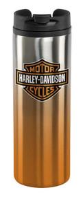 Harley-Davidson® Core Bar & Shield Travel Mug - Silver & Orange HDX-98609 - Wisconsin Harley-Davidson