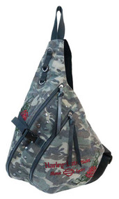 Harley-Davidson® Women's Rose Embroidery Camo Print Sling Backpack WC6117S-CAMO - Wisconsin Harley-Davidson