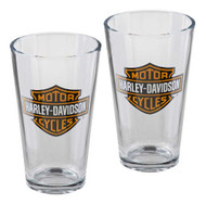 Harley-Davidson® Core Bar & Shield Logo Pint Glass Set - 16 oz. HDX-98706 - Wisconsin Harley-Davidson