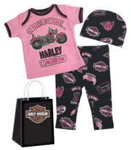 Harley-Davidson® Baby Girls' Glittery 3 Piece Gift Set w/ Gift Bag, Pink 2501813 - Wisconsin Harley-Davidson