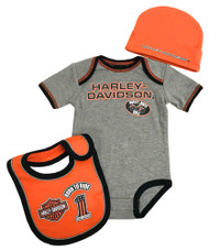 Harley-Davidson® Baby Boys' 3 Piece Creeper, Bib & Hat Set, Gray & Orange 2551805 - Wisconsin Harley-Davidson
