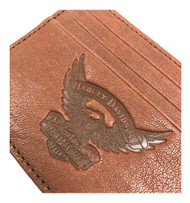 Harley-Davidson® Men's Eagle Embossed Leather Front Pocket Wallet EE9076L-SCOTCH - Wisconsin Harley-Davidson
