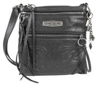 Harley-Davidson® Women's Flame Embossed Leather Crossbody Purse FE2761L-BLK - Wisconsin Harley-Davidson