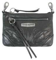 Harley-Davidson® Women's Flame Embossed Leather Hip Bag w/ Strap FE2783L-BLK - Wisconsin Harley-Davidson