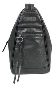 Harley-Davidson® Women's Flame Embossed Leather Sling/Backpack, Black FE2713L-BLK - Wisconsin Harley-Davidson