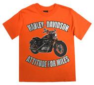 Harley-Davidson® Little Boys' Attitude For Miles Short Sleeve Tee, Orange 1580718 - Wisconsin Harley-Davidson