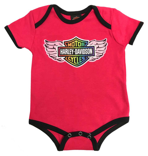 Harley Davidson Baby Clothes Awesome HarleyDavidson Baby Girls' Rainbow Winged Bar Shield Creeper