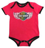 Harley-Davidson® Baby Girls' Rainbow Winged Bar & Shield Creeper, Pink 3000875 - Wisconsin Harley-Davidson
