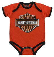 Harley-Davidson® Baby Boys' Genuine Legend Short Sleeve Creeper, Orange 3050873 - Wisconsin Harley-Davidson