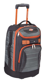 "Harley-Davidson® 21"" Quilted Carry-On Luggage Bag w/ Wheels 99323 GRAY/RUST - Wisconsin Harley-Davidson"