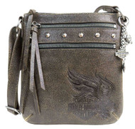 Harley-Davidson® Womens Burnished Vertical Leather Crossbody Purse DC5251L-TANBLK - Wisconsin Harley-Davidson