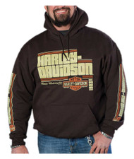 Harley-Davidson® Men's Groovy Retro Pullover Fleece Hoodie - Dark Brown - Wisconsin Harley-Davidson