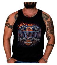 Harley-Davidson® Men's Confine Flaming Engine Sleeveless Muscle Tank, Black - Wisconsin Harley-Davidson
