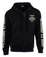 Harley-Davidson® Men's Dagger Skull Distressed Full-Zip Hooded Sweatshirt - Black - Wisconsin Harley-Davidson