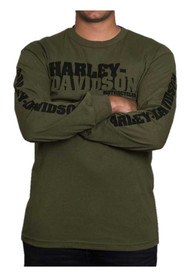 Harley-Davidson® Men's Stenciled H-D Script Long Sleeve Shirt, Military Green - Wisconsin Harley-Davidson