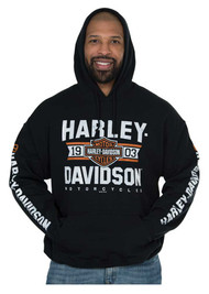Harley-Davidson® Men's Distressed Varsity Pullover Hooded Sweatshirt, Black - Wisconsin Harley-Davidson