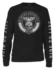 Harley-Davidson® Men's Vintage Medallion Long Sleeve Crew-Neck Shirt - Black - Wisconsin Harley-Davidson
