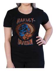 Harley-Davidson® Women's Bling Embellished Dead Head Short Sleeve Tee, Black - Wisconsin Harley-Davidson