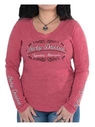 Harley-Davidson® Women's V-Neck Studded Century Long Sleeve Shirt, Pink/Red - Wisconsin Harley-Davidson