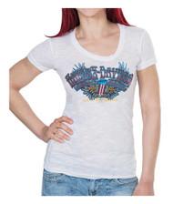 Harley-Davidson® Women's Boulevard #1 Winged Foil Print Short Sleeve Tee, White - Wisconsin Harley-Davidson