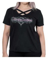 Harley-Davidson® Women's Mood Swing Short Sleeve Cross Strap V-Neck Tee, Black - Wisconsin Harley-Davidson