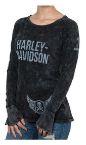 Harley-Davidson® Women's Rockstar Premium Long Sleeve Raglan Tee - Smoke - Wisconsin Harley-Davidson