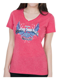 Harley-Davidson® Women's Foil Printed Reflective Wings Short Sleeve Tee, Red - Wisconsin Harley-Davidson