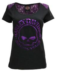 Harley-Davidson® Women's Ornate Glow Skull Premium Lace Shoulder Tee, Black - Wisconsin Harley-Davidson