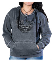 Harley-Davidson® Women's Pursuit Winged Skull Burnout Pullover Hoodie, Graphite - Wisconsin Harley-Davidson