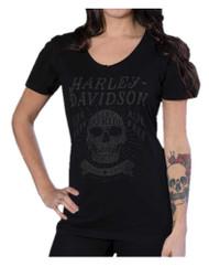 Harley-Davidson® Women's Hand Crafted Short Sleeve Washed V-Neck Tee, Black - Wisconsin Harley-Davidson